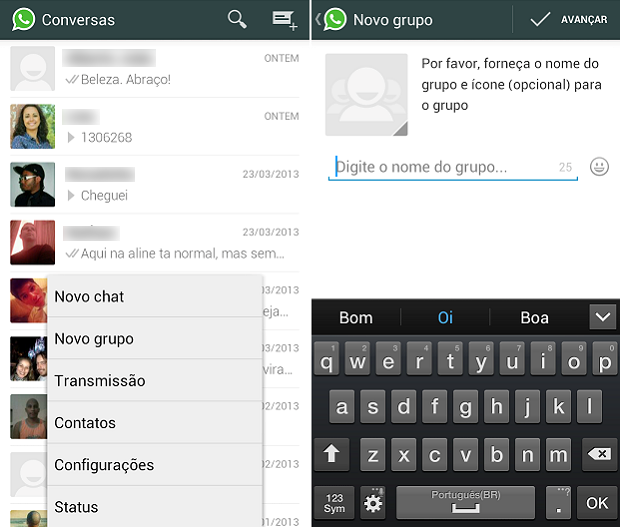 Grupos de conversa do WhatsApp